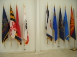 Flags inside memorial