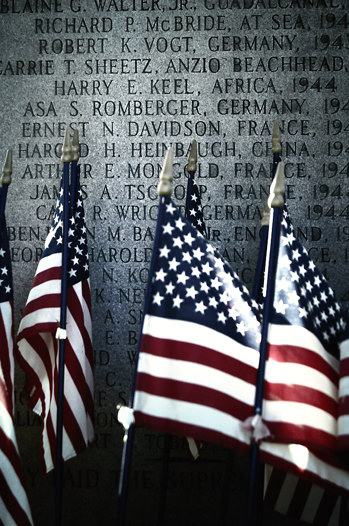 American Flags Placed on Memorials